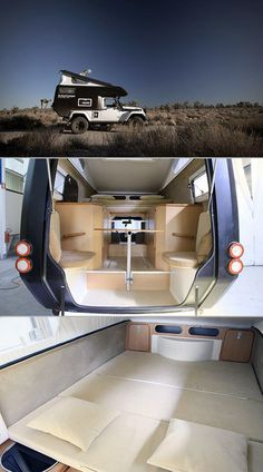 The Action Camper transforms your Jeep into an all-terrain RV, complete with bed, kitchen, and toilet.