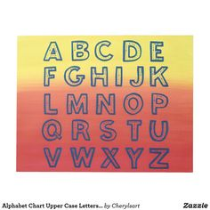Alphabet Chart Upper Case Letters on Ombre Sunset Notepads; 40 sheets per pad. By CherylsArt on Zazzle. #alphabet #alphabetpractice