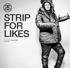 """as chauvinist as this is, it's pretty clever...the female model strips off more clothes the more """"likes"""" the page gets"""