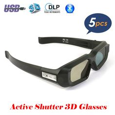 c6ca1b96a7 5PCS USB Rechargeable Active Shutter 3D Glasses Bluetooth Infrared bril for  3LCD Epson projector Samsung Panasonic