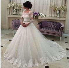 Lace tulle ball gown long sleeve lace wedding dress 2016 applique bridal dress vestido de noiva beaded sash manga longa