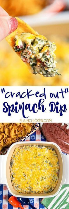 Cracked Out Spinach Dip - the BEST spinach dip EVER! Spinach, cheddar, bacon, Ranch, cream cheese and sour cream. This stuff is so addictive! Great for parties and tailgating! Everyone asks for the recipe! (chicken bacon ranch crockpot six sisters) Dip Recipes, Great Recipes, Snack Recipes, Cooking Recipes, Recipies, Potato Recipes, Vegetable Recipes, Vegetarian Recipes, Dinner Recipes