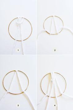 How to make a wall hanging with brass ring and yarn. Macrame Wall Hanging Diy, Macrame Art, Macrame Projects, Yarn Wall Art, Diy Wall Art, Macrame Rings, Macrame Knots, Do It Yourself Inspiration, Feather Crafts