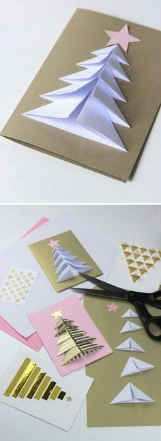 Handmade Christmas Card Ideas Many peoples spend lots of time and resources to make or acquire unique gifts for family and friends. But, accompanying them with the usual generic card is an Incredible Ideas for Christmas card: Folded Christmas tre Christmas Tree Cards, Easy Christmas Crafts, Homemade Christmas, Christmas Projects, Simple Christmas, Christmas Gifts, Christmas Decorations, Christmas Ornaments, Christmas Cards Handmade Kids