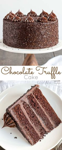 The ultimate chocolate indulgence! This decadent Chocolate Truffle Cake is perfect for the chocolate lover in your life. Rich chocolate cake paired with a silky chocolate ganache frosting. | livforcake.com
