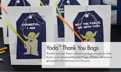 Star Wars Party - Yoda™ Thank You Favor Bags