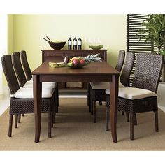 Classic Dining Room Table without high shine.  Could be casual or formal.  Cabria Honey Brown Extension Dining Table  | Crate and Barrel