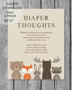 Printable Late Night Diaper Thoughts Baby Shower Activity - Woodland Animals Theme - Print It Baby