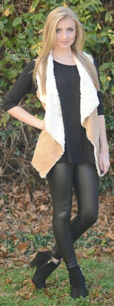 This faux suede vest is essential. Features ultra soft faux suede that is perfect to cozy up to. Makes a perfect layered look. Endless styling options. Free shipping on orders $50 and over! #outfit