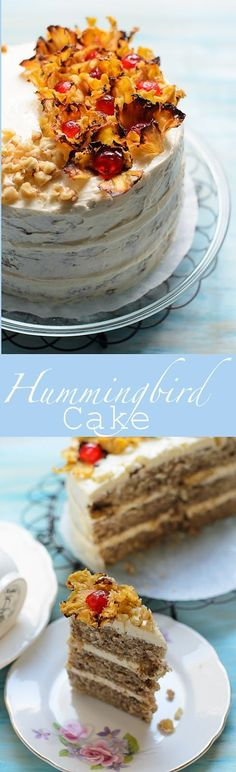 Hummingbird Cake Tropical taste in a slice. Spiced pineapple and banana cake with cream cheese frosting.