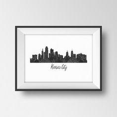 Kansas City skyline print Cityscape printable Watercolor painting Missouri art Kansas City silhouette poster Black white office wall decor
