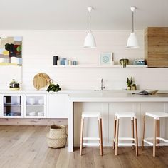 """""""Whites and neutrals are the ideal backdrop to create visual interest. The Dulux colour used here is #WhiteOnWhite (wall) #WorthDoing #WorthDulux"""""""