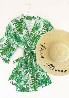 8f3170ecc915c Palm Leaf Print Robe - perfect honeymoon gift for the bride to be! Soft  cotton
