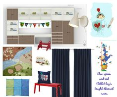 "blue, green and red (little) boys knight-themend bedroom/playroom Almost everything is from Ikea, find the rest of the sources on my Pinterest board ""knight themed boy's room"""