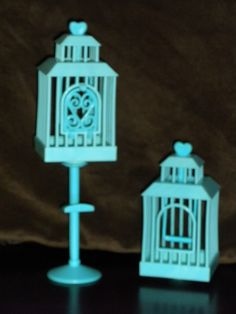 Barbie 3 Pieces Blue Bird Cage & Stand Parts Pieces Doll House Furniture