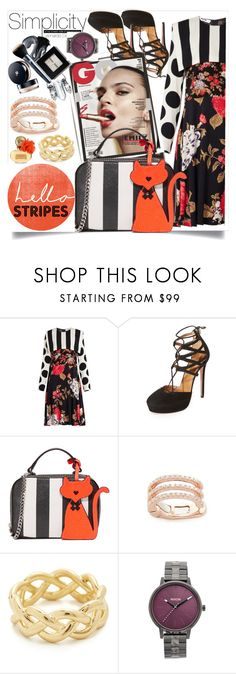 """""""Stripe Dress!!"""" by stylediva20 on Polyvore featuring MSGM, Aquazzura, Milly, Paul Frank, EF Collection, Soave Oro and Nixon"""