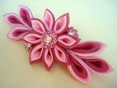 Tsumami Kanzashi Barrette Pink Kanzashi Barrette Satin by Ivanna