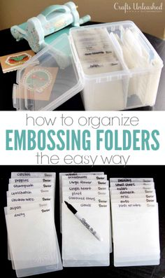 How to Organize Embossing Folders - Crafts Unleashed This simple system is the best way to store & organize your embossing… Scrapbook Storage, Scrapbook Organization, Craft Organization, Scrapbook Rooms, Organizing Tips, Organising, Scrapbook Supplies, Ribbon Organization, Ribbon Storage