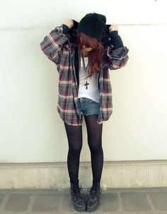 shorts, tights, oversize plaid shirt and dr martens