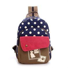 Fashion Design Polka Dot Animal Print Medium-Capacity Quality Canvas Backpack 3 Colors