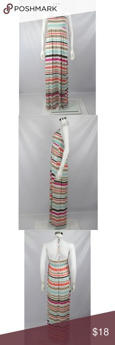 """Banana Republic Striped Stretch Halter Maxi Dress Banana Republic Striped Stretch Knit Halter Maxi Dress  Size: Small   70% Rayon  30% Lyocell Made in Vietnam  Color: Multicolor  Gently used - no flaws.  Measurements:  Chest - 12"""" Waist - 13.25"""" Length (rear - middle to hem) - 49""""  Inventory J2 Banana Republic Dresses Maxi"""
