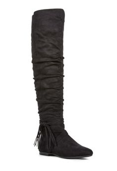 Take on a slouchy over-the-knee boot with Rommy, the fall must-have that will keep warm through the season. Ruched side detailing and a fringe side tassel, it's a comfortable boot you can wear all day. Inner Zip....