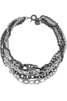 multi chain black and silver chain necklace - Google Search