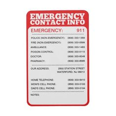 Emergency Contact Information List Rectangular Magnets