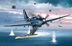 Curtiss Helldiver, al fondo es el Yamato
