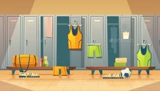 Vector locker or changing room for football, basketball team. Dressing of sports uniform, training equipment, athletic costume. Shelves in school gym, cartoon background Background Drawing, Star Background, Cartoon Background, Animation Background, Casa Anime, Sports Locker, Episode Interactive Backgrounds, Living Room Background, Changing Room