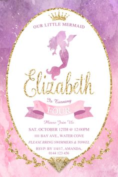 Every little girl would love an underwater adventure birthday. Have your magical party start with this gorgeous gold foil with pink, purple or blue watercolour Mermaid birthday invitation. Personalise it using the order form. Send it your way, print, online, text or instant message. You choose how to share it with your family and friends. Watercolor Mermaid, Watercolour, Printable Invitation Templates, Invitation Cards, It's Your Birthday, Birthday Parties, Online Text, Boy Birthday Invitations, Order Form