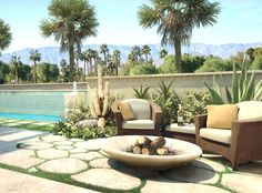 Desert landscape...love the seating area
