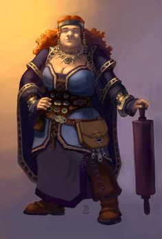 Female Dwarf by Sunradio on devianart.com - I love the giant rolling pin! I've seen giant skillets, but enjoy the large baking utensil.