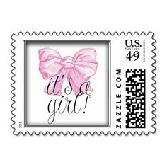 It's a Girl! Pink Postage Stamp