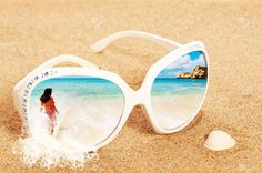 Concept Image Of Summer Holidays With Beach Scene In Sunglasses ...