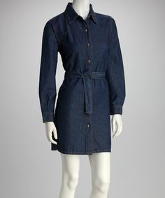 Take a look at this Blue Denim Long-Sleeve Shirt Dress by Analogy on #zulily today!