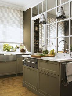Кухня цвета хаки