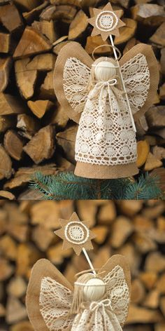 Christmas Angel Tree Topper, Burlap Christmas Ornaments, Holiday Centerpiece, Christmas Gift by suzette Burlap Christmas Ornaments, Angel Christmas Tree Topper, Christmas Angels, Christmas Tree Decorations, Handmade Christmas, Christmas Crafts, Christmas Swags, Christmas Poinsettia, Crochet Ornaments