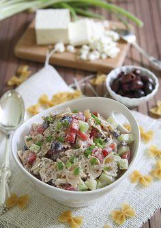 Greek Pasta Salad | runningtothekitchen.com (make with vegan yogurt or sour cream instead of greek yogurt)