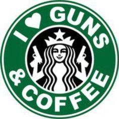I Love Guns And Coffee Starbucks Funny Car Bumper Vinyl Sticker Decal Way Of Life, The Life, Real Life, Doraemon, Rifles, Love Gun, Gun Rights, Lol, Thing 1
