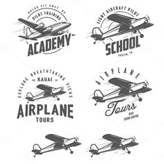 Light airplane design elements by 1baranov on Creative Market