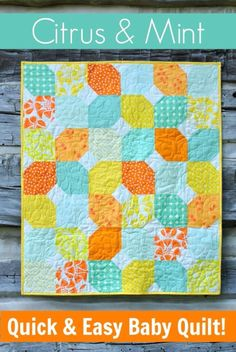 Best Quilts to Make This Weekend - Citrus & Mint Baby Quilt - Free Quilt Patterns and Quilting Tutorials - Quilting for Beginners and Sewing Ideas - DIY Baby Quilts, Printables, New and Easy Modern Quilts, Jelly Roll, Quilt Squares, Fat Quarters and Scrap Ideas http://diyjoy.com/free-quilt-patterns-tutorials