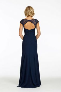 Indigo chiffon A-line bridesmaid dress with navy lace cap sleeve