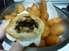 Fried pork dumplings (aka ham sui gok) - my favourite from the Chinese bakery! So excited to try making this. Also, other recipes to try out: http://jodeli.proboards.com/index.cgi?board=requests=print=1171, http://neckredrecipes.blogspot.ca/2006/02/chewy-pork-dumpling-hum-sui-kok.html and http://deep-fried.food.com/recipe/chinese-sticky-rice-dumplings-228650