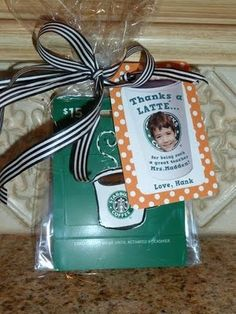 """Thank you gift for a teacher! """"Thanks a latte"""" with your childs picture on the tag and a bow! Sooo cute #Creative"""