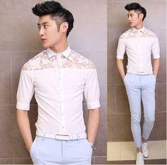 Freeshipping Hot Sale 2014 Men's Lace Shirts Charming Sexy Fashion Model Club Shirt $24.00