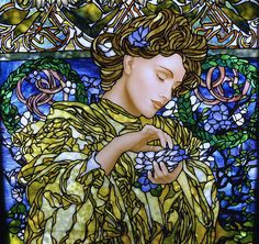 Alphonse Mucha  inspired ,   by Stained Glass Painter / Jim M. Berberich