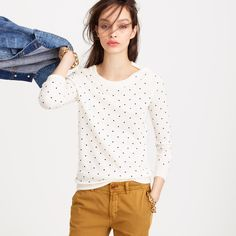 Polka-dot Tippi sweater with shoulder buttons : Pullovers | J.Crew perfect sweater for layering! It would go well with a button down underneath.