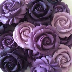 12 SUGAR PURPLE ROSES edible sugarpaste flowers cake decorations wedding toppers