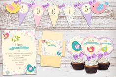 Kit imprimible Bonitos Pajaritos Bautismo Cumpleaños nena 1 año